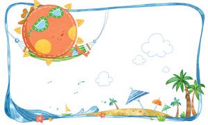 吊床上的太阳卡通创意设计分层素材