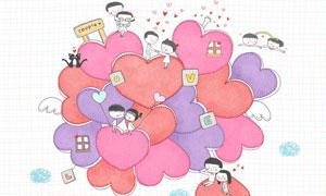 情侣人物与多种心形等插画分层素材