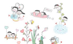 植物昆虫与情侣人物等插画分层素材