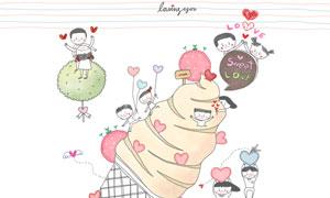 情侣人物与爱心冰淇淋插画分层素材