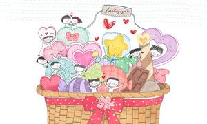 篮子里的心形与情侣等插画分层素材