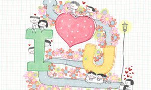 小路箭头与情侣等插画创意分层素材