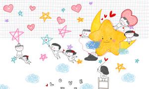 情侣人物与心形元素等创意分层素材
