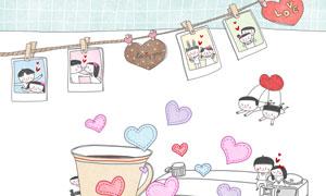 咖啡照相机与桃心创意插画分层素材