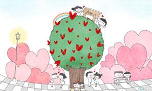 大树花草与情侣等卡通插画分层素材
