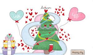圣诞树与圣诞装扮情侣插画分层素材