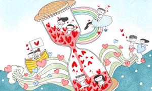沙漏瓶里的情侣人物等创意分层素材
