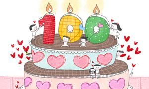 庆祝蜡烛蛋糕与情侣等插画分层素材