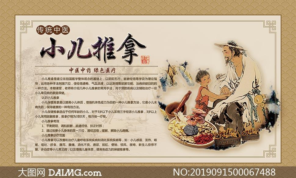 小儿推拿中医文化宣传海报PSD素材