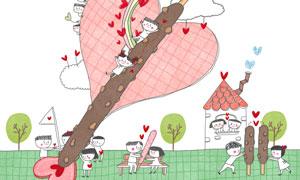 树木与情侣人物等插画创意分层素材