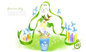 植物灯泡与建筑等创意设计分层素材