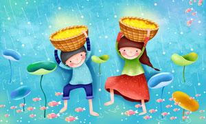 在流星雨下的男孩女孩插画分层素材
