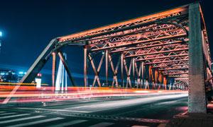 城市大桥美丽夜景高清摄影图片