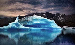 星空下的极地冰山高清摄影图片
