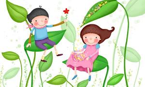 坐在树叶上的儿童创意插画分层素材