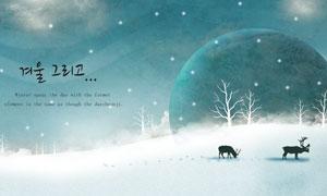 冬季树木与雪地上的鹿主题分层素材
