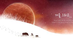 星球与雪地上的树木动物等分层素材