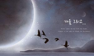 天空月球与?#19978;?#30340;禽鸟创意分层素材