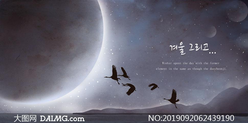 天空月球与飞翔的禽鸟创意分层素材