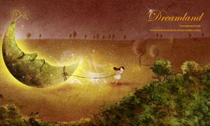 拖着月亮前行的小女孩插画分层素材