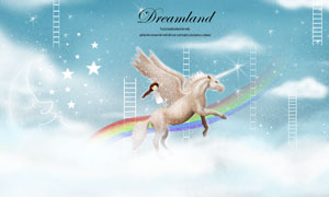 骑着飞马的小女孩插画创意分层素材
