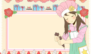 花朵礼物盒与烘焙女孩主题分层素材