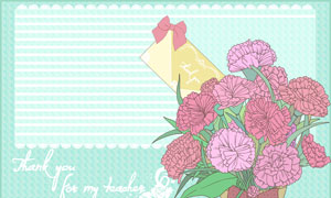 蝴蝶结与线描花朵背景装饰分层素材