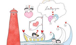 红色灯塔与甜蜜的恋人插画分层素材