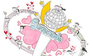红心麦克风与情侣人物插画分层素材