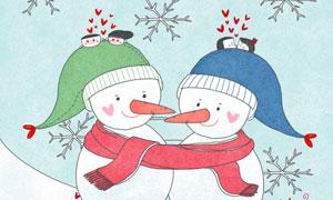 拥抱在一起的雪人插画创意分层素材