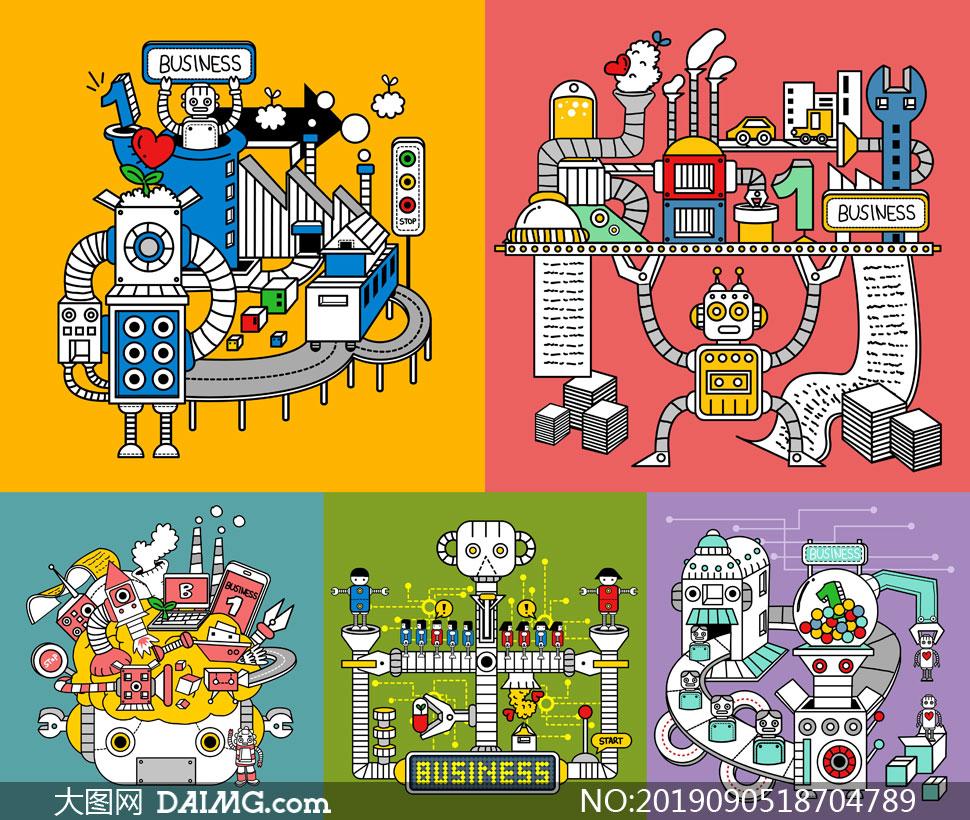 机器化作业卡通创意设计矢量素材V01