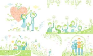 清新绿色幸福家庭人物插画矢量素材
