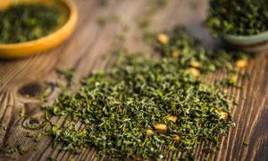 晾干的茶叶近景特写摄影图片