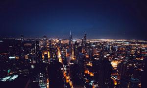 星空下的城市夜景高清摄影图片