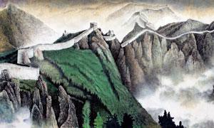 萬里長城傳統繪畫圖片素材