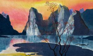 中国风山川湖泊绘画效果图片素材