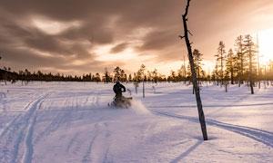 清晨在雪地上骑着雪地车的车手摄影图片