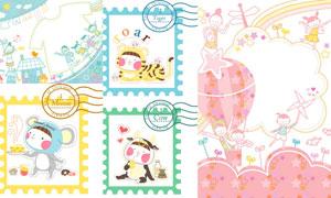 幸福家庭与可爱的动物卡通矢量素材