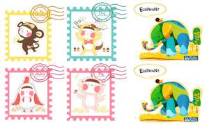 小鸡与猴子等卡通图案邮票矢量素材