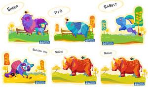 绵羊与犀牛等卡通动物创意矢量素材