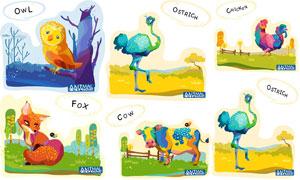 鸵鸟公鸡与狐狸等卡通动物矢量素材