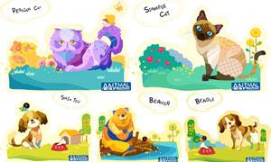 波斯猫等卡通创意动物主题矢量素材