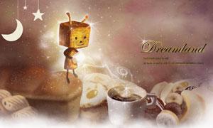 在往咖啡里加糖的方盒小人创意素材