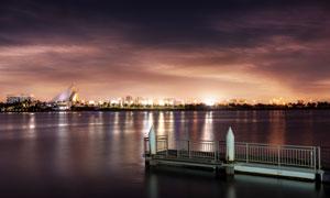 海边美丽的城市夜景高清摄影图片