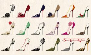 多款图案的漂亮高跟鞋主题分层素材