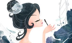 镜子前化妆的美女人物插画分层素材