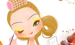 在化妆打扮的美女人物插画分层素材