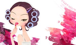 在涂抹口红的卷发美女插画分层素材