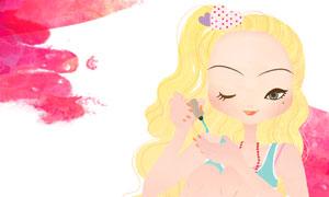 做美甲的金发女孩人物插画分层素材