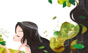 护肤美容养颜主题人物插画分层素材